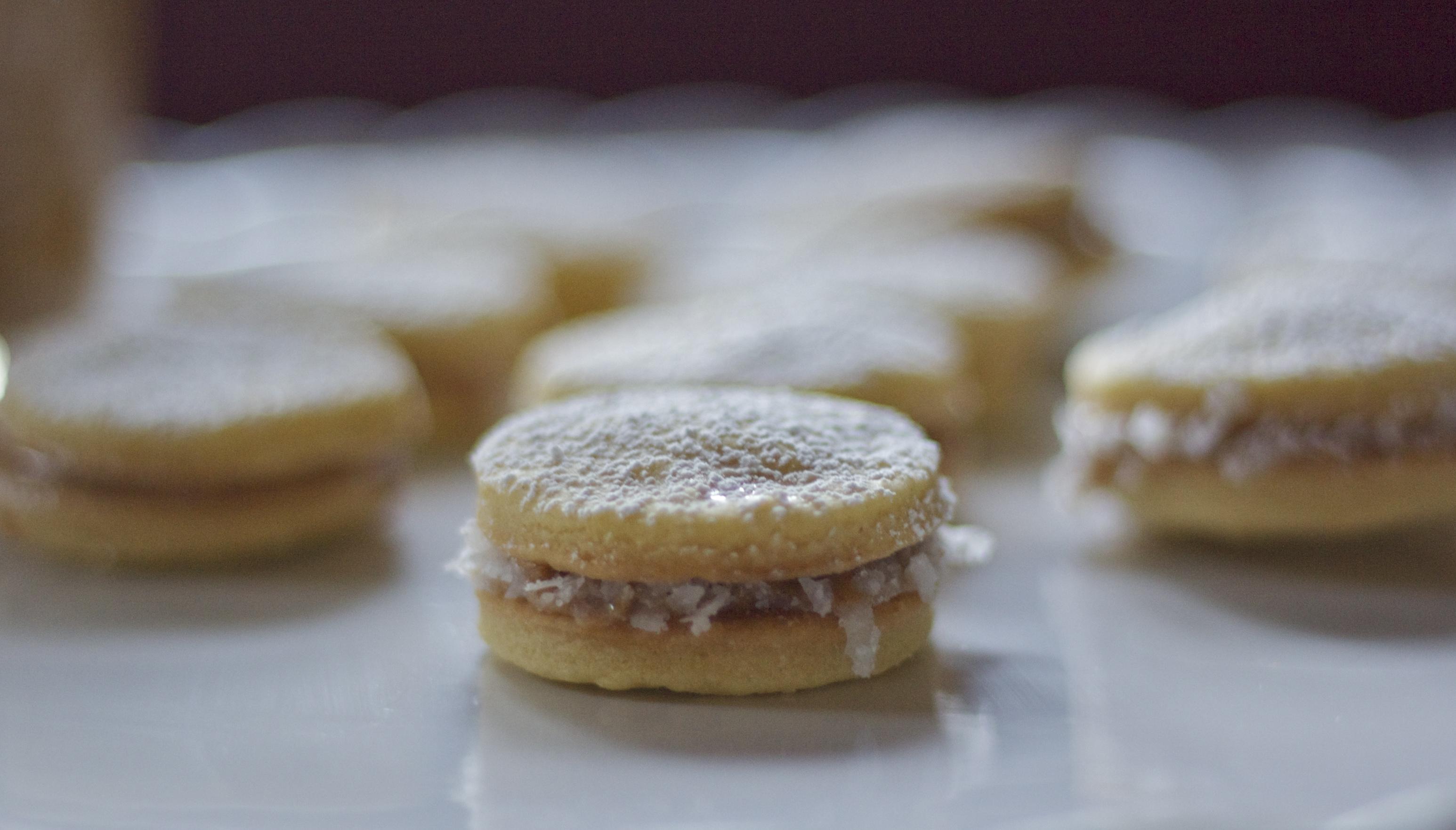 Alfajores cookies on plate.