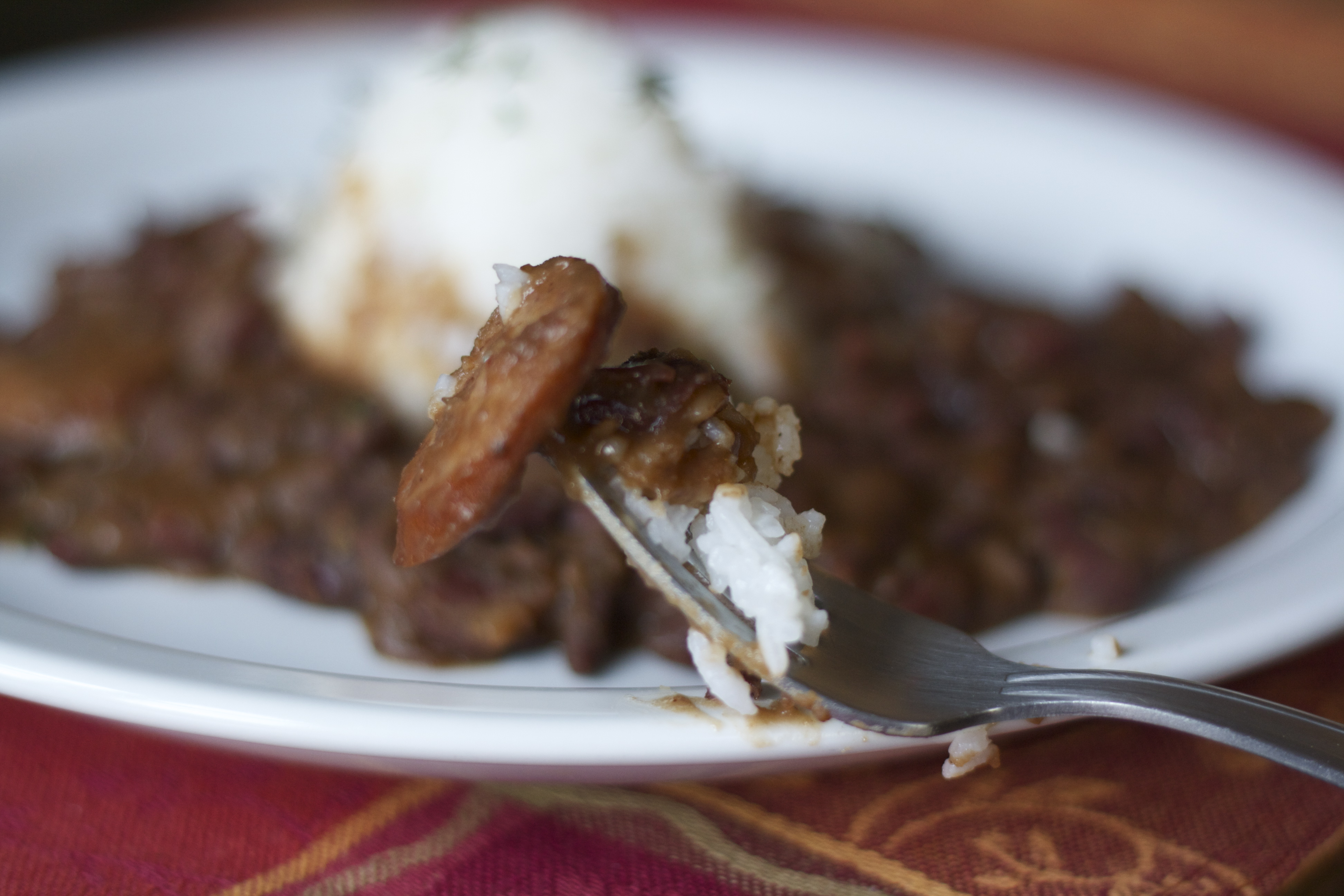 Close up of New Orleans red beans and rice.